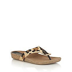 Lotus - Leopard pony leather 'Rafaella' toe post sandals