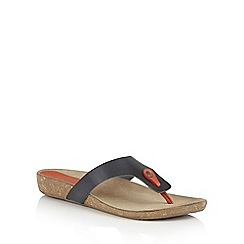 Lotus - Navy red leather 'Rafaella' toe post sandals
