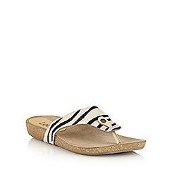 Lotus - Zebra pony leather 'Rafaella' toe post sandals