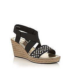Lotus - Black elastic 'Chiara' wedge sandals