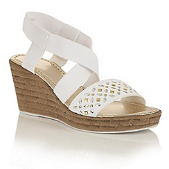 Lotus - White elastic 'Chiara' wedge sandals