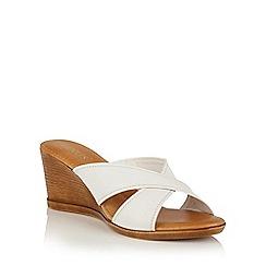 Lotus - White leather 'Ashling' wedge mules