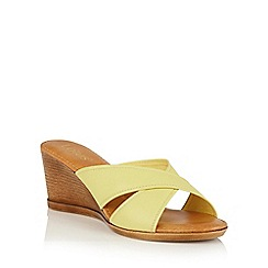 Lotus - Yellow leather 'Ashling' wedge mules