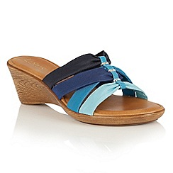Lotus - Blue multi 'Martha' wedge mules