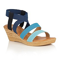 Lotus - Blue multi 'Jeanine' wedge sandals