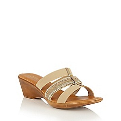 Lotus - Gold multi 'Delfina' wedge sandals
