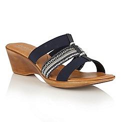 Lotus - Navy multi 'Delfina' wedge sandals