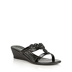 Lotus - Black shiny 'Alessia' wedge sandals