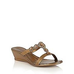 Lotus - Bronze metallic 'Alessia' wedge sandals