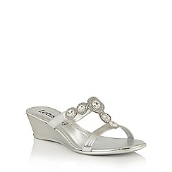 Lotus - Silver metallic 'Alessia' wedge sandals
