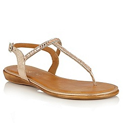 Lotus - Rose gold glitz 'Reginan' toe post sandals