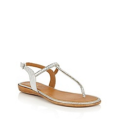 Lotus - Silver glitz 'Reginan' toe post sandals