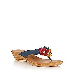 Lotus - Navy multi 'Eula' toe post sandals