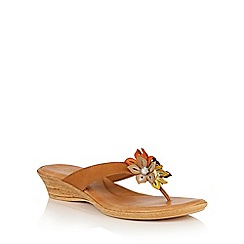 Lotus - Tan multi 'Eula' toe post sandals