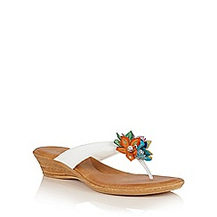 Lotus - White multi 'Eula' toe post sandals