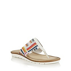 Lotus - White multi elastic 'Gabriella' toe post sandals