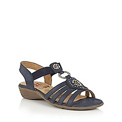 Lotus - Navy matt 'Philomena' open toe sandals
