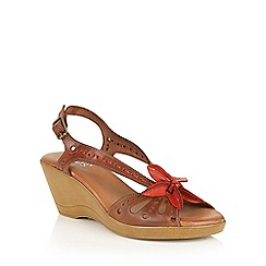 Lotus - Tan red 'Trevi' wedge sandals