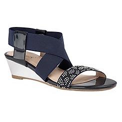 Lotus - Navy shiny 'Briee' elastic wedge sandals