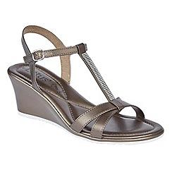 Lotus - Pewter metallic 'Ginevra' t-bar wedge sandals