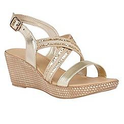 Lotus - Gold 'Taperly' platform sandals