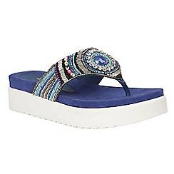Lotus - Blue multi 'Matta' platform sandals
