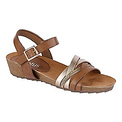 Lotus - Tan 'Pika' ankle strap sandals