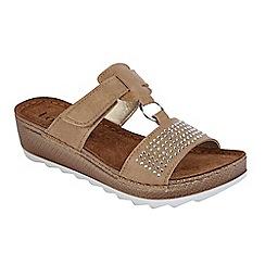Lotus - Tan 'Sacerno' flatform sandals