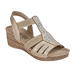 Lotus - Beige 'Saltara' mid heel wedge sandals