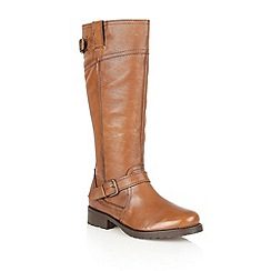 Lotus - Antique tan tumbled leather 'Amano' knee high boots