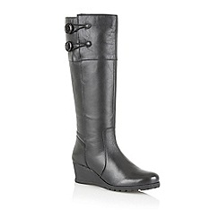 Lotus - Black leather ' Bellano' knee high boots