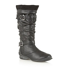 Lotus - Black matt 'Calciano' knee high boots