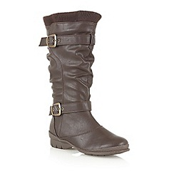 Lotus - Brown matt 'Calciano' knee high boots