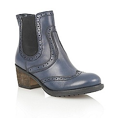 Lotus - Denim blue leather 'Daria' ankle boots