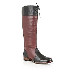 Lotus - Bordo/black leather 'District' knee high boots