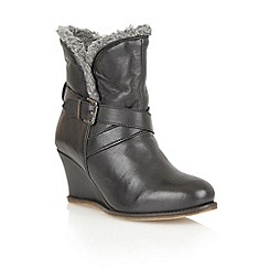 Lotus - Black leather 'Cove' ankle boots