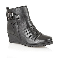 Lotus - Black leather 'Division' ankle boots