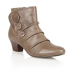 Lotus - Khaki leather 'Brisk' ankle boots