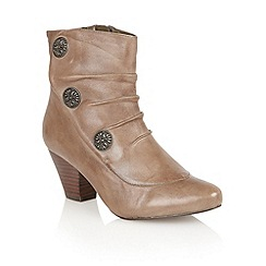 Lotus - Khaki leather 'Forest' ankle boots