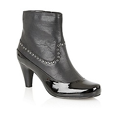 Lotus - Black leather/shiny ' Shadow ankle boots
