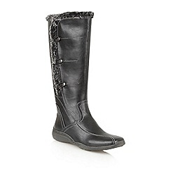 Lotus - Black Matt ' Volcanic' knee high boots