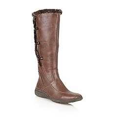 Lotus - Brown matt 'Volcanic' knee high boots