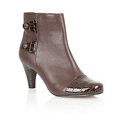 Lotus - Brown Shiny croc 'Robin' ankle boots