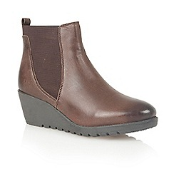 Lotus - Dark brown leather 'Meryl' ankle boots
