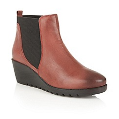 Lotus - Dark red leather 'Meryl' ankle boots