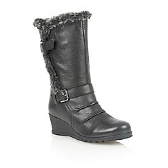 Lotus - Black leather 'Krissy' calf boots