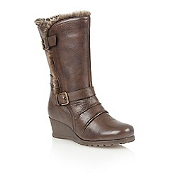 Lotus - Dark brown leather 'Krissy' calf boots