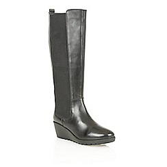 Lotus - Black leather 'Bridger' knee high boots