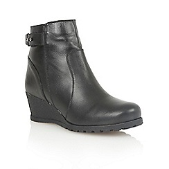 Lotus - Black leather 'Shard' ankle boots