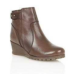 Lotus - Dark brown leather 'Shard' ankle boots